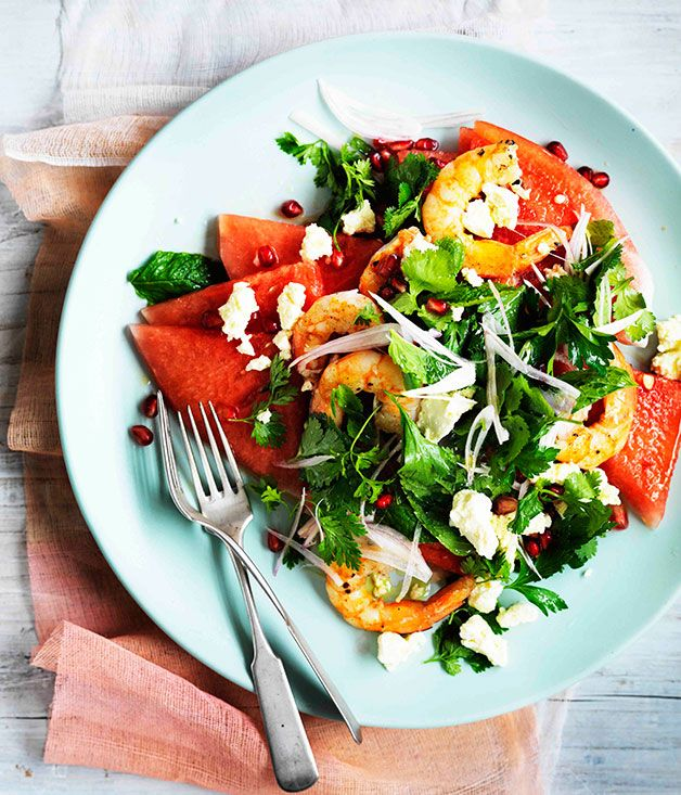 Australian Gourmet Traveller recipe for watermelon, Persian feta, prawn and herb salad.