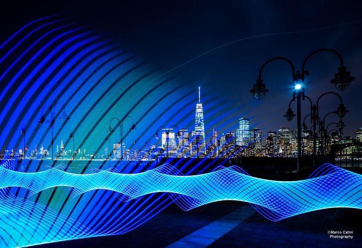 Manhattan Skyline, seen from Liberty State Park.  Lightpainting with a Pixelstick.