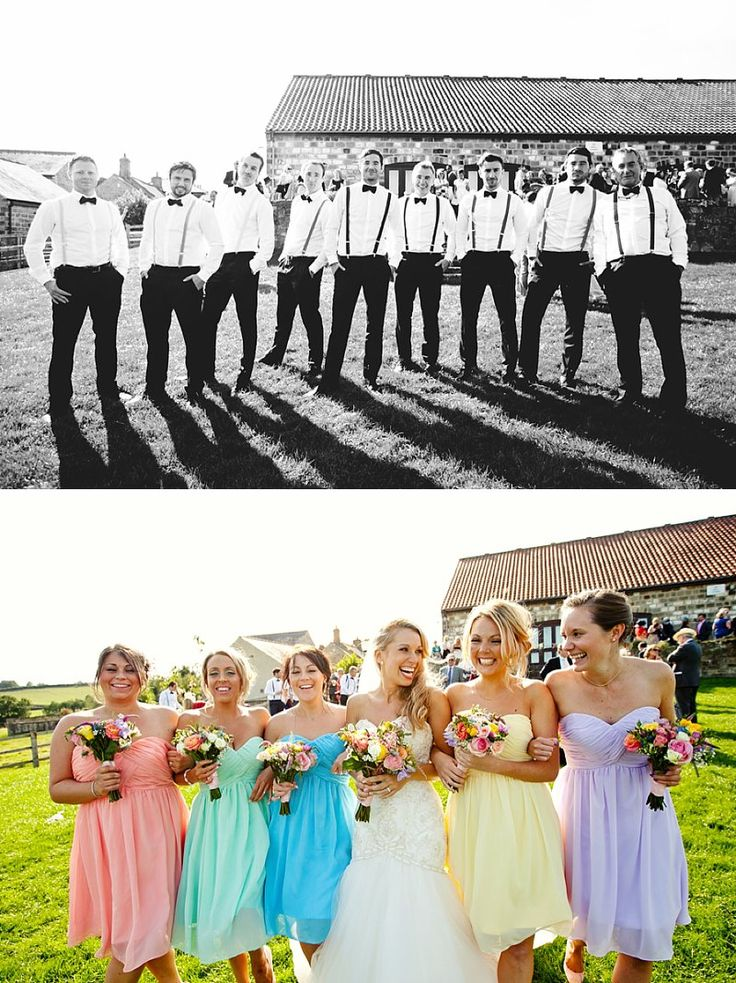 Get Inspired: Look how beautiful these rainbow of pastel colors for the bridesmaids' dresses were!