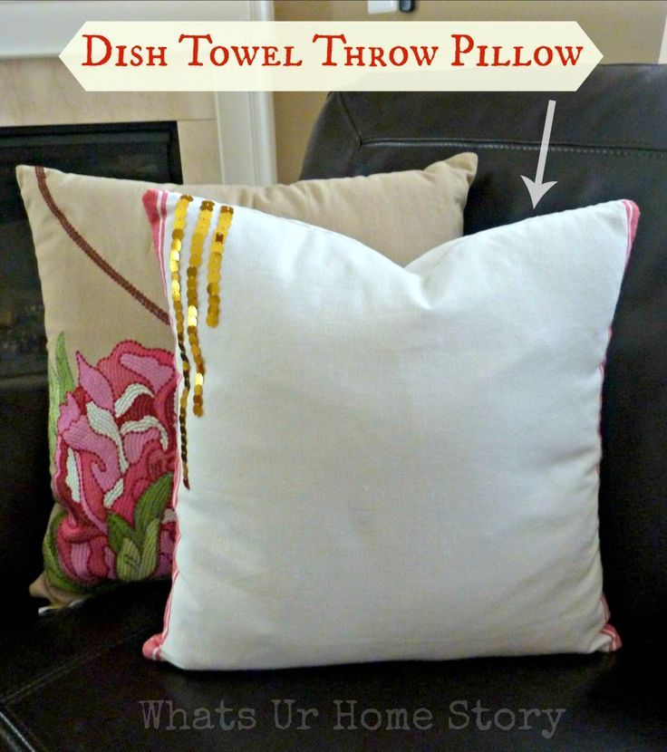 How to Make Pillow Covers with a Dish Towel Tutorial, Dish-Towel-Throw-Pillow