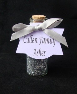 Cullen Family Ashes party favor.  Twilight party favor