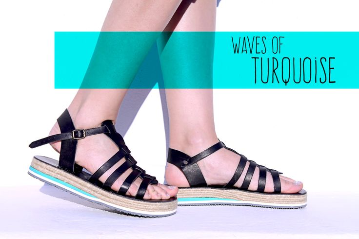 Premium quality handmade sandals, designed by Irene Sioti. #BLACK/TURQUOISE  Find them here: www.esiot.gr
