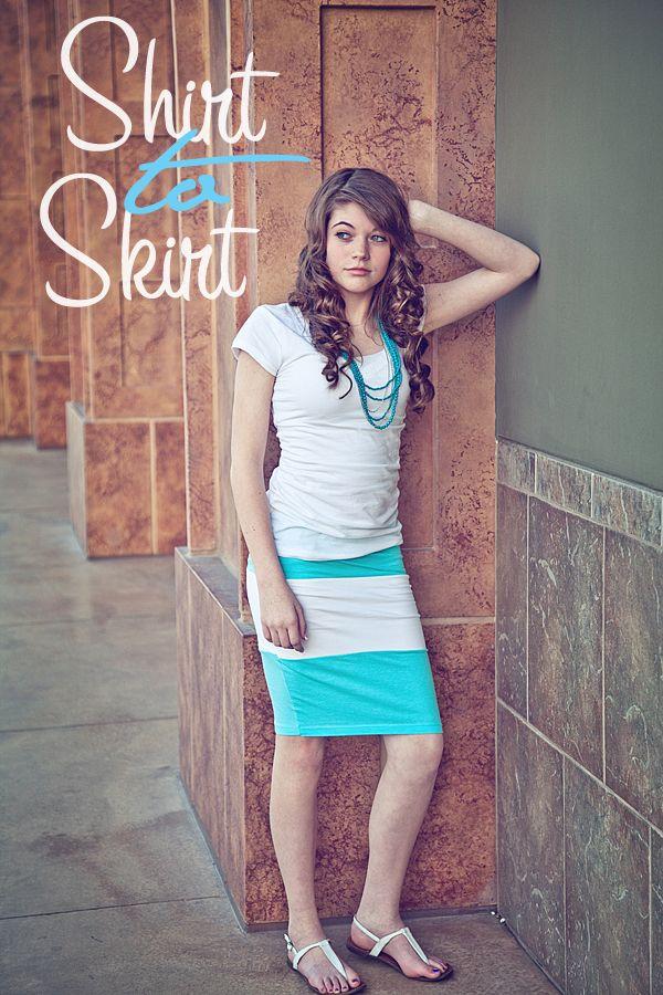 t-shirt skirt - I'd add some ruffles for the fun of it. It'd make it a little less... um, homemade. :P