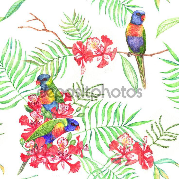 Тропические цветы и попугаи лорикет - Векторная картинка: 73364935