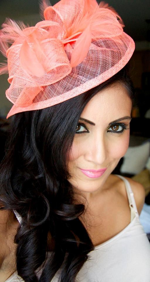 """Spring Racing 2013 - Coral Fascinator - """"Penny"""" Mesh Hat Fascinator with Mesh Ribbons and Ivory Feathers"""