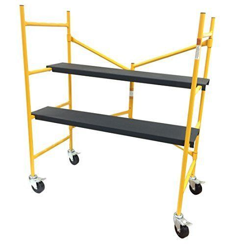 New Scaffold Step Ladder Locking Swivel Casters 500lb Capacity 2 Non Skid Planks #HomeImprovementSupplies