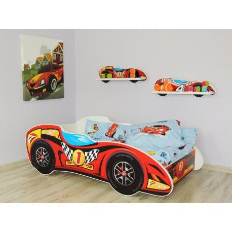 'Number 1' F1 luxury racing car bed - red and yellow - The Little Bedroom Company