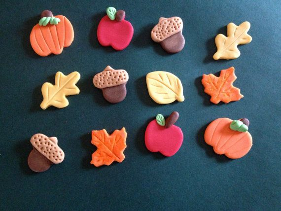Reserved Listing - Edible Fondant Fall (Apple, Pumpkin, Leaf and Acorn) Cupcake Toppers - Set of 24 on Etsy, $26.00