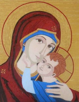 Mother and Child - Sacred byzantine glass mosaic art  (commission - sold) by Liza Wheeler