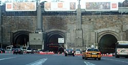The Lincoln Tunnel is a 1.5-mile long tunnel under the Hudson River, connecting Weehawken, New Jersey and the borough of Manhattan in New York City.