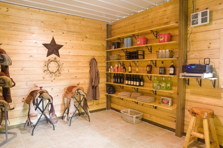 Morton horse barn in Spearfish, SD  Love the shelves and organization!