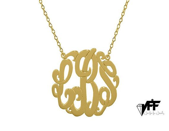 (1) Gold Monogram necklace any initial gold by justforfundesign