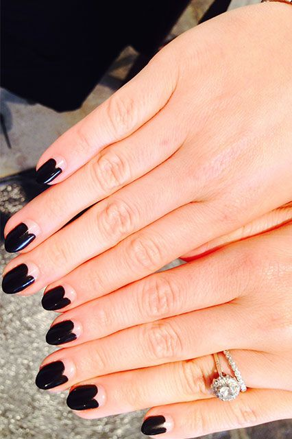 """The Beauty Editor  """"This fall, nail art is all about simplicity,"""" says Deborah. """"I love the way this editor chose to use negative space to create a graphic, yet romantic look. Plus, at Fashion Week, black is arguably considered the official color of backstage. This manicure could go with anything."""""""