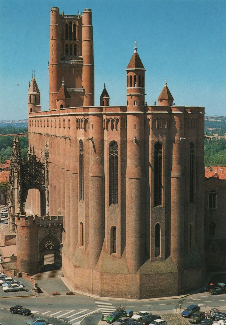Albi Cathedral, Sainte-Cécile Basilica, Albi, France, is a fortress cathedral, begun in 1287 and under construction for 200 years.  Brick, Southern Gothic style