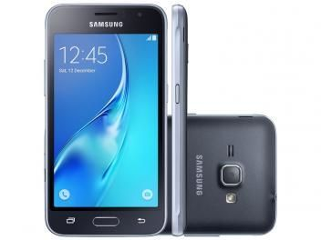 "Smartphone Samsung J1 8GB Preto Dual Chip 3G - Câm. 5MP Tela 4,5"" Proc. Quad Core Android 5.1"