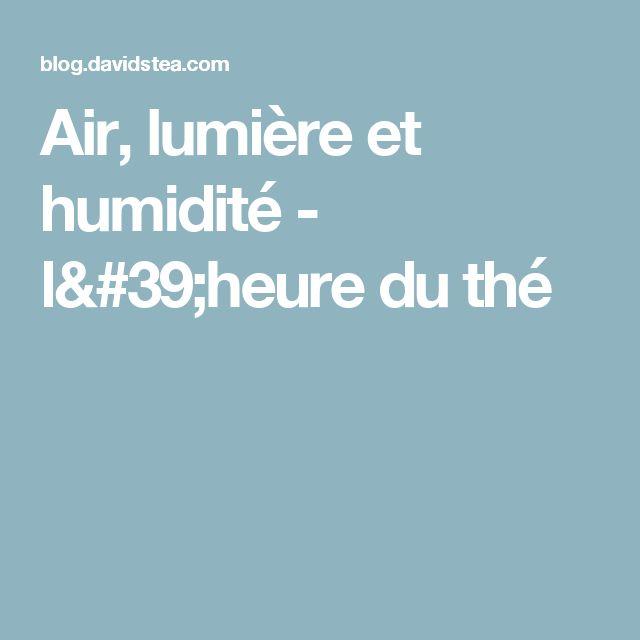 Air, lumière et humidité - l'heure du thé