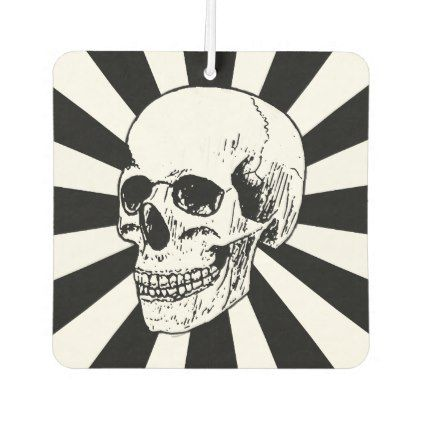 Funny black skull car air freshener - black gifts unique cool diy customize personalize