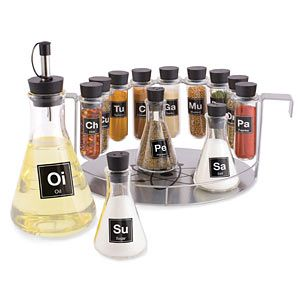 Turn your boring spice rack into one that look like it was ripped off a table in a chemistry lab! Test tubes and flasks hold your spices and oil!