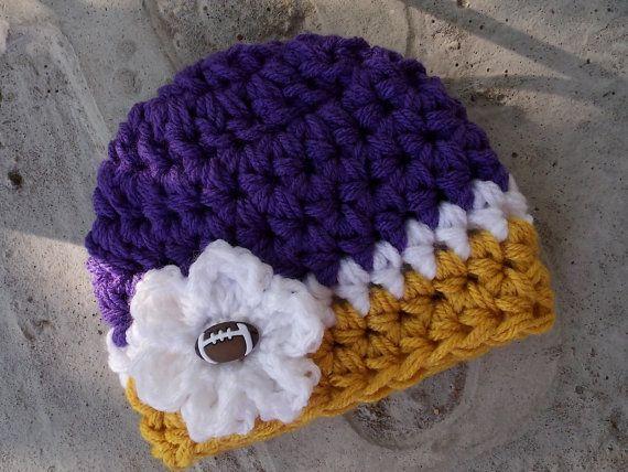 NFL hat Minnesota Vikings  chunky baby hat  newborn by LadybugLB