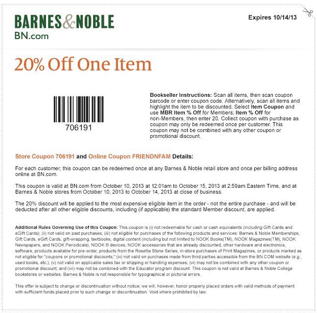 barnes noble 25 off 1 item coupon mojosavingscom