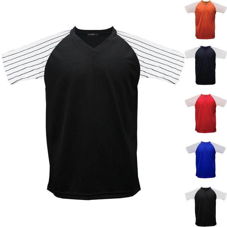 Raglan Baseball Stripe T-Shirt Jersey Short Sleeves V Neck Dry Tee Team Sports #hellobincom #RaglanBaseballStripeTShirt