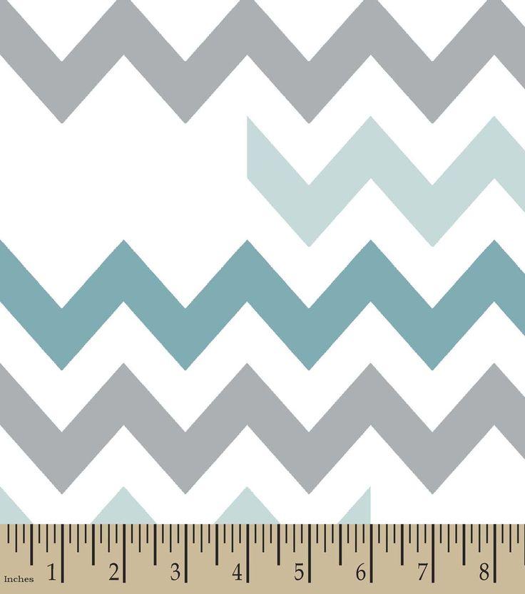 Blue & Grey Chevron Print Fabric,