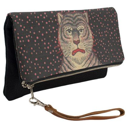 Asian Tiger Face Black Stripes Red Dots Clutch - accessories accessory gift idea stylish unique custom