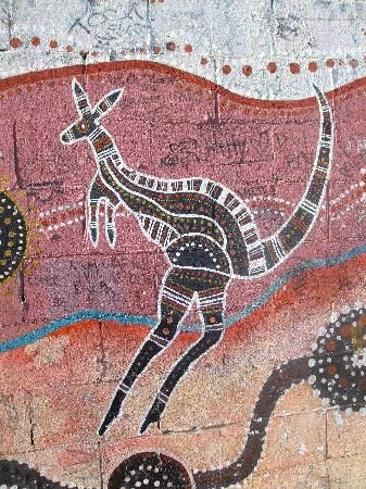 Original aboriginal art on a railway wall, along Eveleigh Street