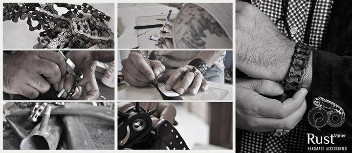 Produção pulseira com corrente de bike e câmara de ar