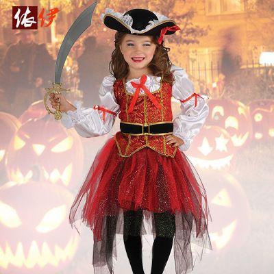 Хэллоуин Девушки Выполняют костюмы, милые и смешные маленькие девочки одеты как пираты Хэллоуин костюмы, детская Хэллоуин Подарок