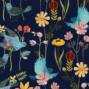 blue birds fabric