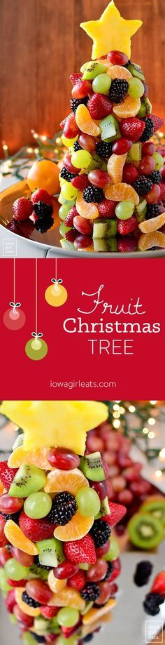 Start a new holiday tradition with a beautiful and fresh Fruit Christmas Tree! Perfect for parties, a dessert table centerpiece, or a healthy treat for Santa. | http://iowagirleats.com