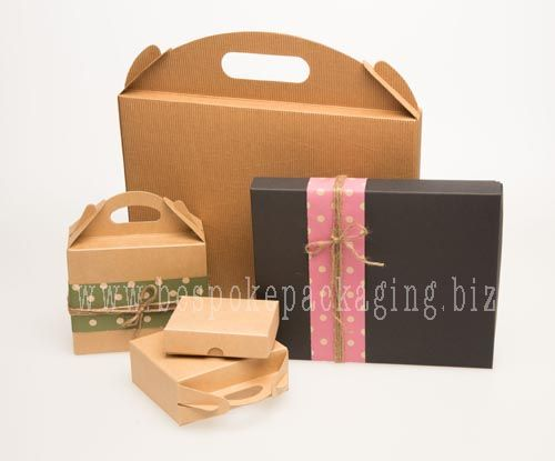 Carry bag boxes, Base & Lid style boxes available in Kraft, Kraft corrugated and black. visit our store www.bespokepackaging.biz