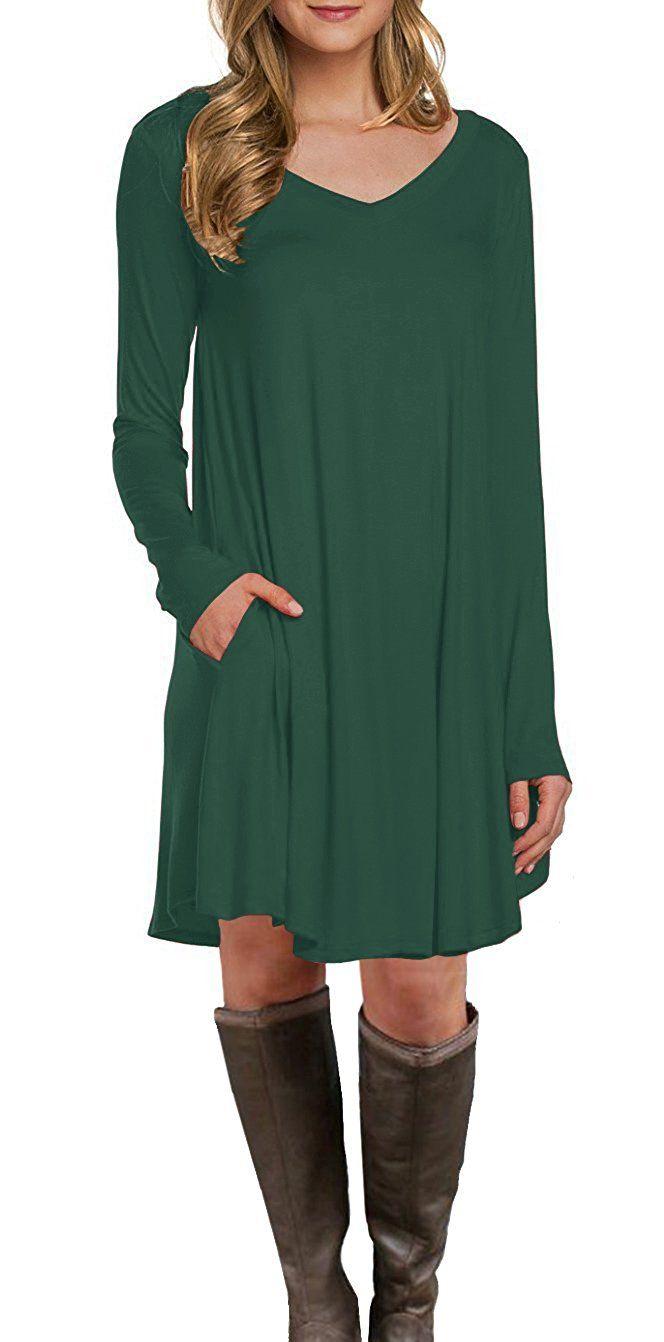 Lilbetter womenus long sleeve pocket casual loose tshirt dress
