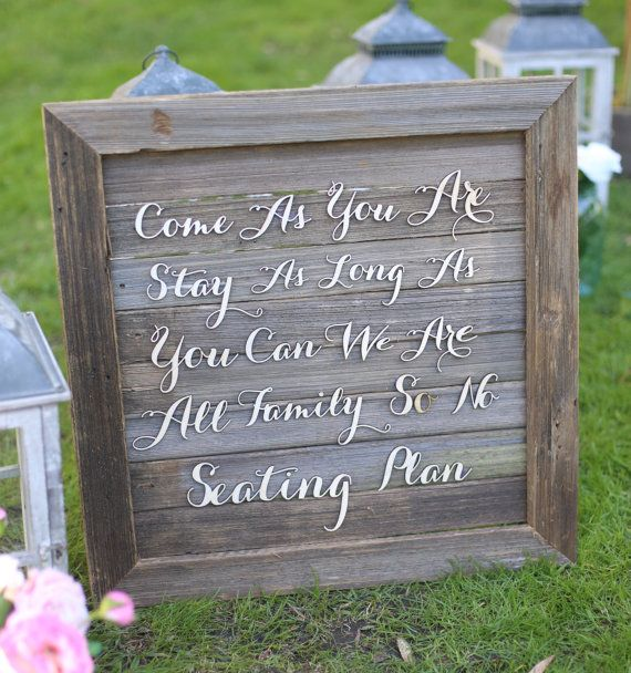 Rustic Wedding Sign No Seating Plan Old Barn Wood By Braggingbags 9900