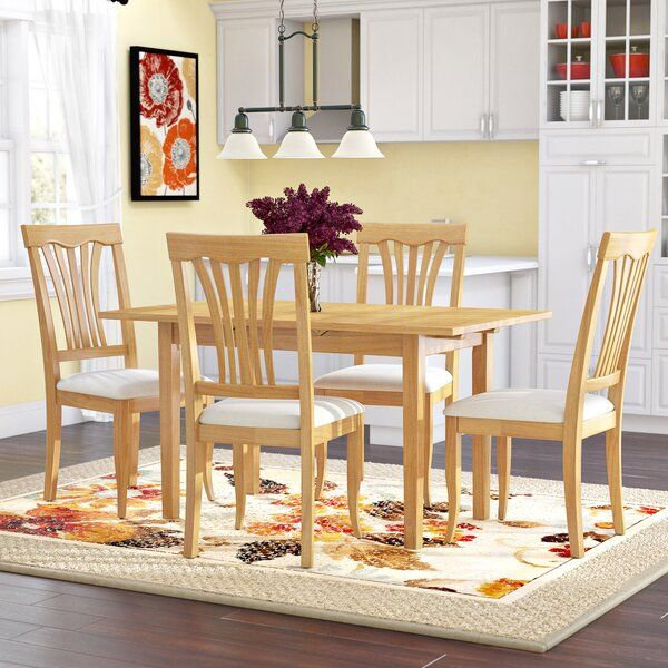 Antonio 5 Piece Butterfly Leaf Rubberwood Solid Wood Dining Set Solid Wood Dining Set Nook Dining Set Breakfast Nook Dining Set