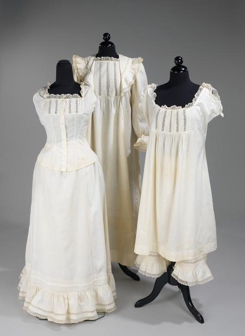 Left: Corset cover, underskirt (slip). Middle: Nightgown ...