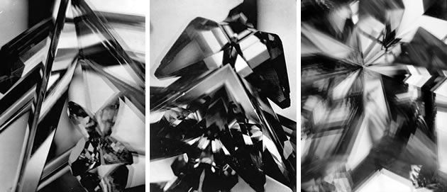 A vortograph is the abstract kaleidoscopic photograph taken when shooting an object or scene through a triangular tunnel of three mirrors. Alvin Langdon Coburn's images were some of the first abstract photographs taken.