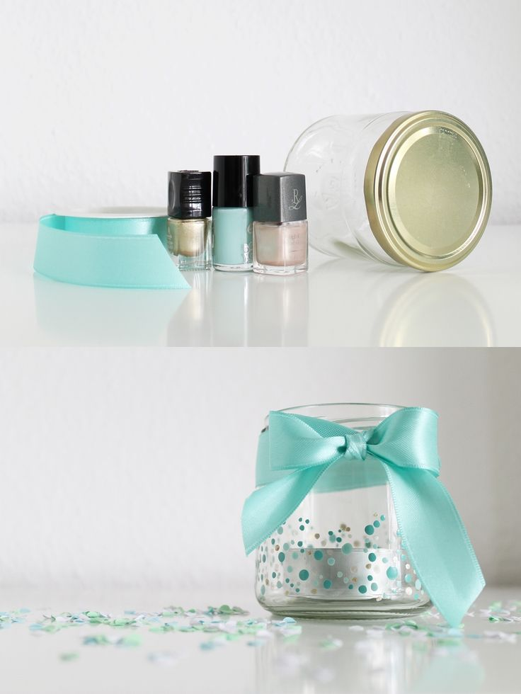 Easy DIY wedding decoration tea light with ribbon and nail polish. Konfetti-Teelicht für die Kaffeetafel | DIY Hochzeit
