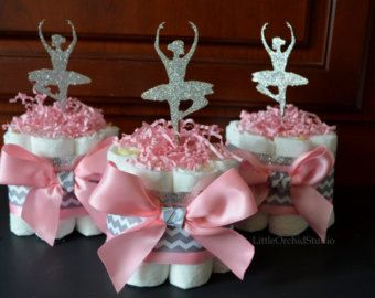 Pink Ballerina/ Ballerina diaper cake/ It's a girl/ Baby Shower centerpieces/ Little Ballerina/ Chevron/ Pink/ Silver/ Glitz/ Mommy to be