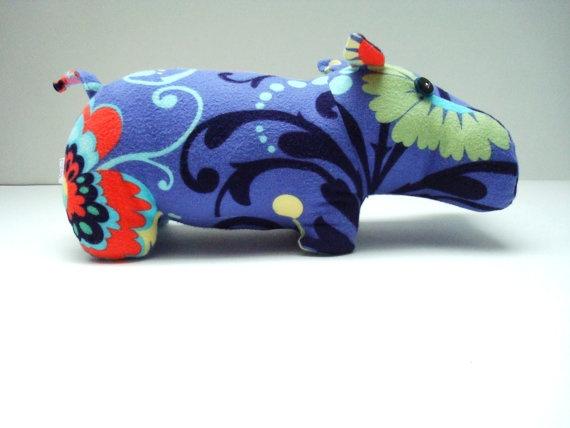 Flannel Love Hippo by KittyKittyCrafts on Etsy, $45.00