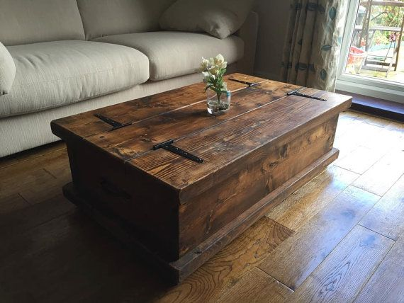rustic chunky coffee table storage chest hand by