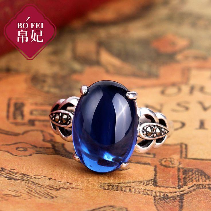 Серебро винтаж тайский серебро серебро 925 чистого серебра синий корунд безымянный палец кольцо женщин -