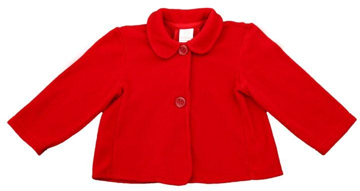 Casaco infantil feminino vermelho com gola e botões.