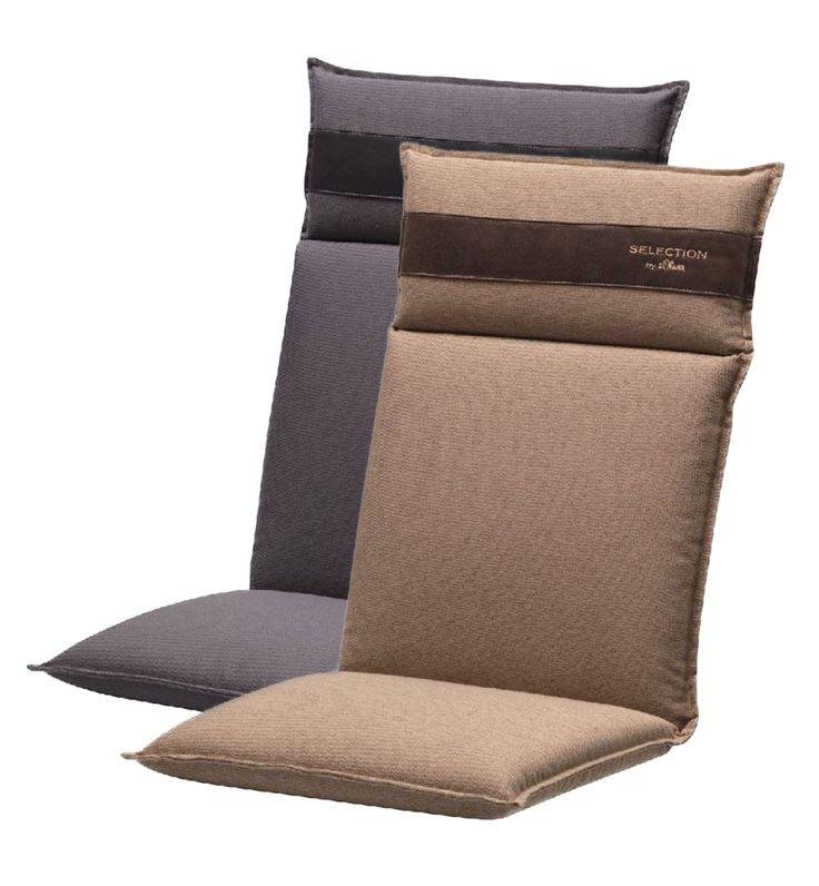 Tuinkussens voor de verstelbare stoel in een tijdloos taupe en grijs dessin. Hoogwaardig afgewerkt met chique kunstlederen accent in de hoofdsteun.