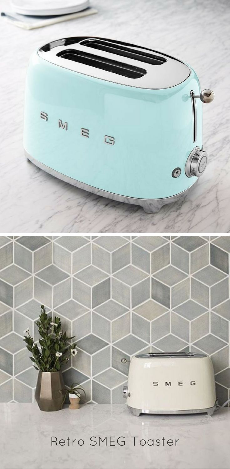 This toaster would fit perfectly in a retro style kitchen. It comes in a ton of colors so you can match it to your decor. Plus it also makes darn good toast | SMEG | Retro | Kitchen Decor | Toaster | Ad #homedecor