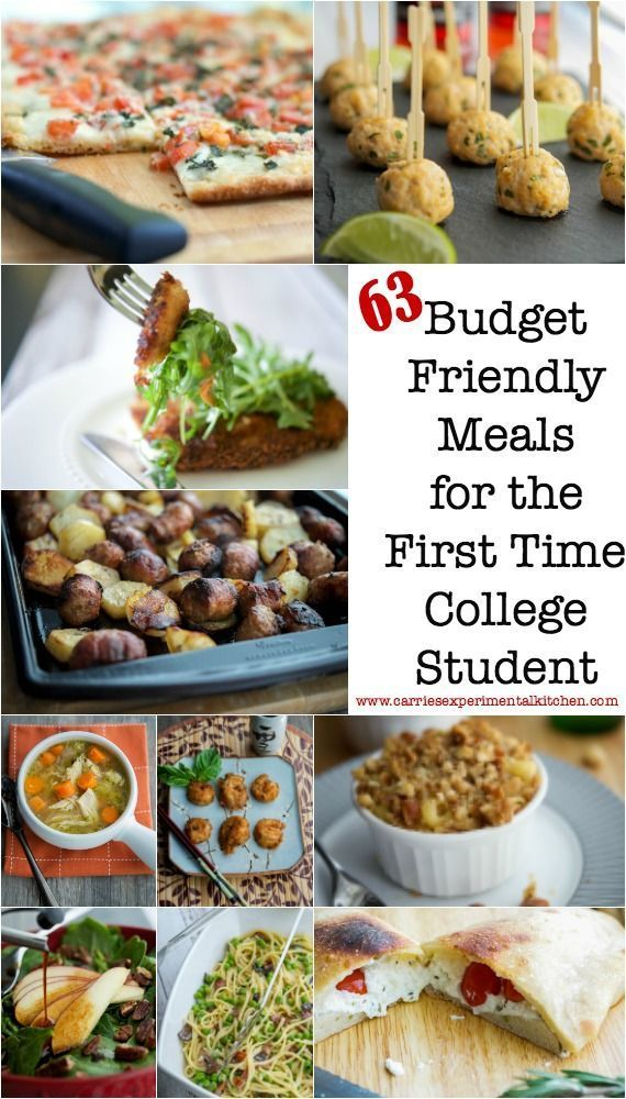 63 Budget Friendly Meals for the First Time College Student, plus a list of kitchen equipment and pantry supplies to start your first kitchen.