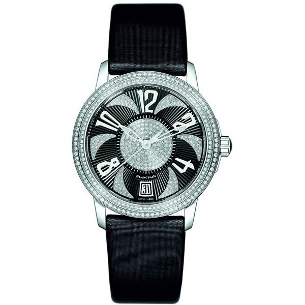 Blancpain Ultraplate Automatic Ladies Watch (43,435 CAD) ❤ liked on Polyvore featuring jewelry, watches, transparent dial watches, white gold watches, skeleton wrist watch, see through watches and dial watches