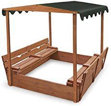 Ana White   Sand box with built-in seats - DIY Projects. Added canopy kids play playground outdoors