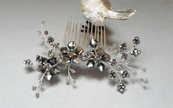 Black crystal comb Silver Night crystal hair comb by ZTetyana